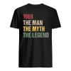 50th birthday gift 1969 the man the myth the legend men s t shirt