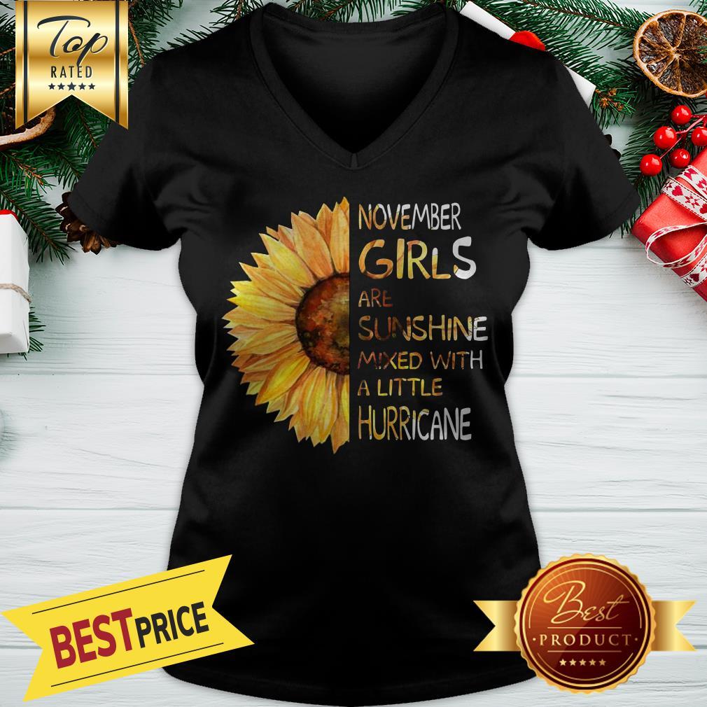 November Girls Are Sunshine Mixed With A Little Hurricane Sunflower V-neck