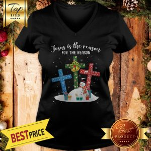 Official Jesus Is The Reason For The Season Snowman Christmas V-neck