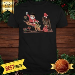 Oh What Fun It Is To Ride Santa Claus Riding Reindeer Shirt
