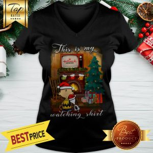 Snoopy And Charlie Brown This Is My Hallmark Christmas Movies Watching V-neck