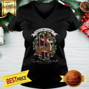Southern Attitude Joy To The World Christmas V-neck