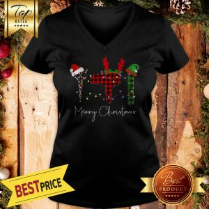 The Scissors Santa & Hairdryer Reindeer & Comb Shorty Light Christmas V-neck