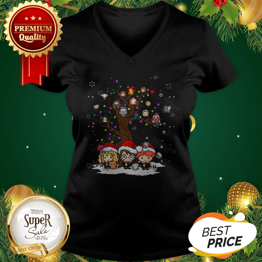 Harry Potter Characters Tree Of Life Snowflakes Christmas V-neck