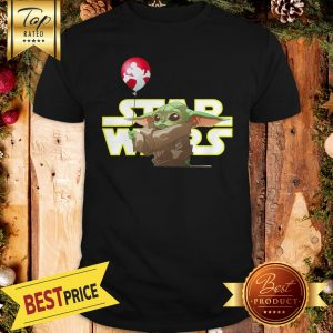 Hot Star Wars Baby Yoda Hand Holding Balloon Mickey Mouse Shirt
