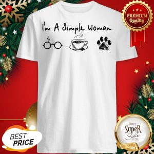 I'm A Simple Woman I Like Coffee Dog Paw Dragonfly Shirt