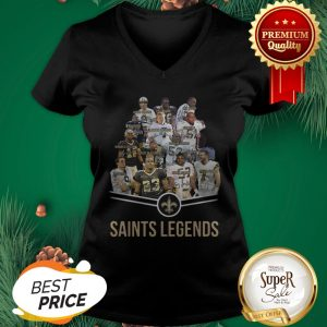 Nice New Orleans Saints Logo Saints Legends All Signature V-neck