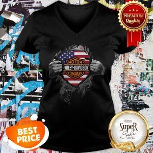 Motor Harley Davidson Cycles Blood Inside Me American Flag V-neck
