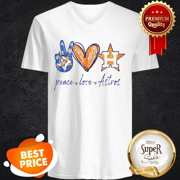 Nice Peace Love Houston Astros Diamond V-neck