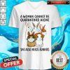 Awesome A Woman Cannot Be Quarantined Alone She Also Needs Bunnies V-neck