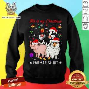 Funny This Is My Christmas Cow Pig Sheep Chicken Farmer Sweatshirt - Design By T-shirtbear.com