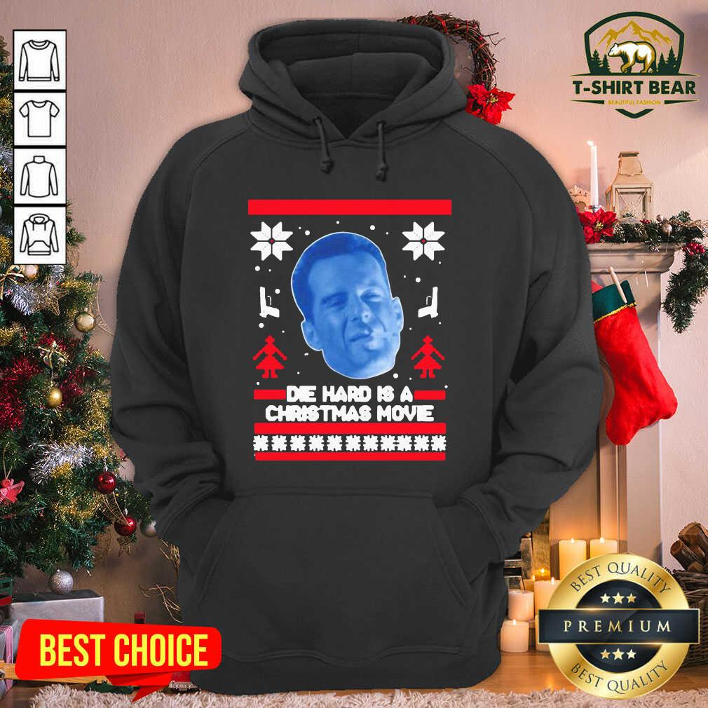 Bruce Willis Die Hard Is A Christmas Movie Ugly Christmas Hoodie - Design by T-shirtBear.com