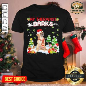 Puggle Hat Santa My Therapist Barks Happy Merry Christmas Shirt - Design by T-shirtBear.com