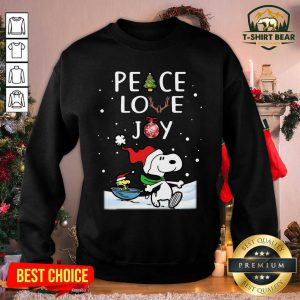 Peanuts Snoopy Peace Love Joy Christmas Sweatshirt - Design by T-shirtBear.com
