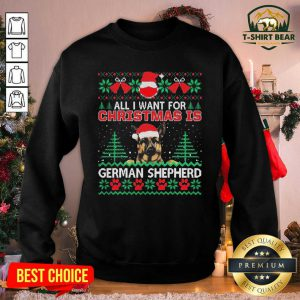 All I Want For Christmas Is German Shepherd Ugly Sweatshirt - Design by T-shirtBear.com