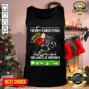 Santa Claus Motorcycle Merry Christmas You Wheelie Animals Tank Top - Design by T-shirtBear.com