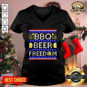 Original Bbq Beer Freedom Ugly Christmas V-neck - Design By T-shirtbear.com