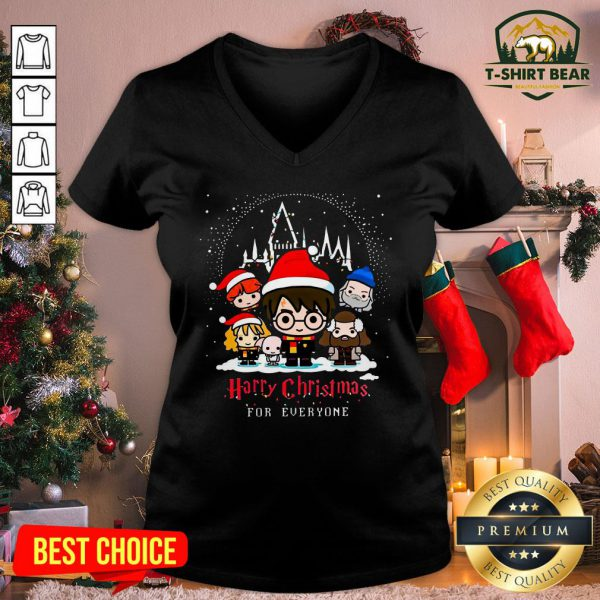 Cute Harry Potter Characters Chibi Harry Christmas For Everyone V-neck - Design by T-shirtBear.com