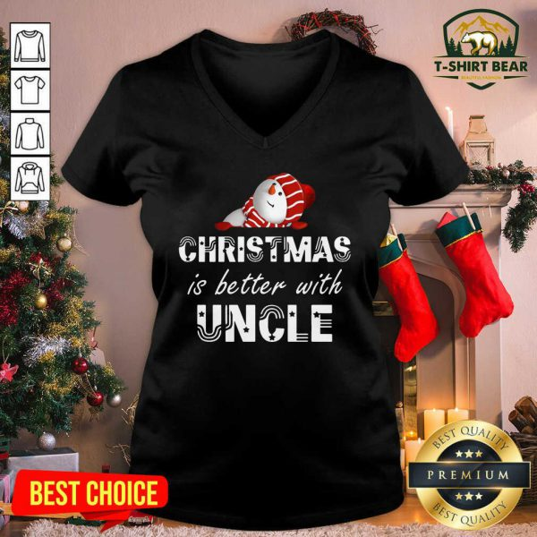 Christmas Is Better With Uncle Snowman V-neck - Design by T-shirtBear.com