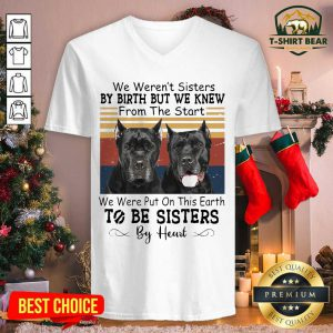 Cane Corso We Weren't Sisters By Birth But We Knew To Be Sisters By Heart Vintage Retro V-neck - Design by T-shirtbear.com