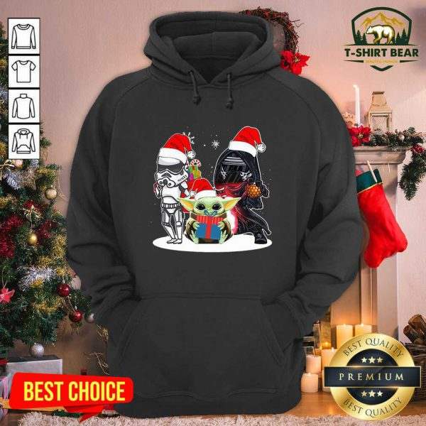 Baby Yoda And Darth Vader Stormtrooper Merry Christmas Hoodie - Design by T-shirtbear.com
