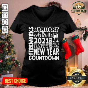 2021 Happy New Year Cheers Celebrate Countdown Fireworks V-neck - Design by T-shirtbear.com