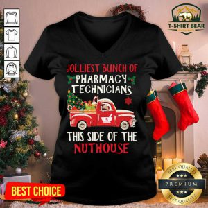 Jolliest Bunch Of Pharmacy Technician This Side Of Nuthouse Car Red Xmas V-neck - Design by T-shirtbear.com