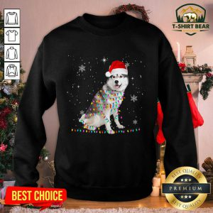 Siberian Husky Santa Christmas Lights Xmas Sweatshirt - Design by T-shirtbear.com