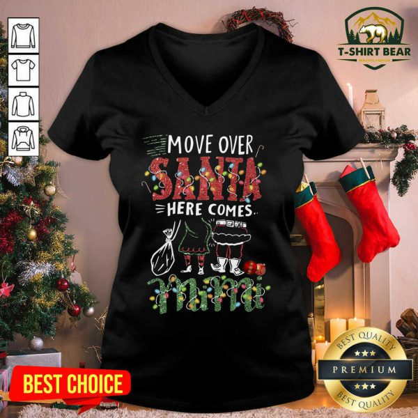 Mimi Move Over Santa Gift For You For Family Ugly Christmas V-neck - Design by T-shirtbear.com