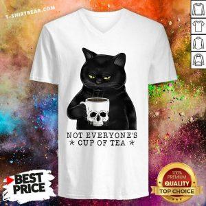 Envious Not Everyones Cup Of Tea 1 Cat Skull Cup V-neck - Design by T-shirtbear.com