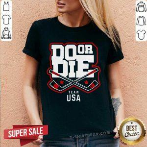 Do Or Die Team Usa Hockey V-neck - Design By T-shirtbear.com