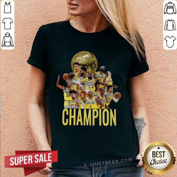 Los Angeles Lakers Champion 2020 NBA Signatures V-neck - Design By T-shirtbear.com