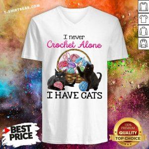 Pretty I Never Crochet Alone I Have Cats V-neck - Design by T-shirtbear.com